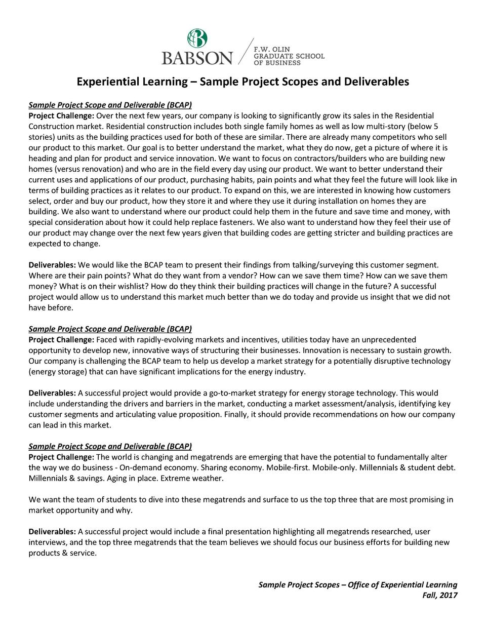 Experiential Learning     Sample Project Scopes and Deliverables Sample Project Scope and Deliverable  BCAP  Project Chall...
