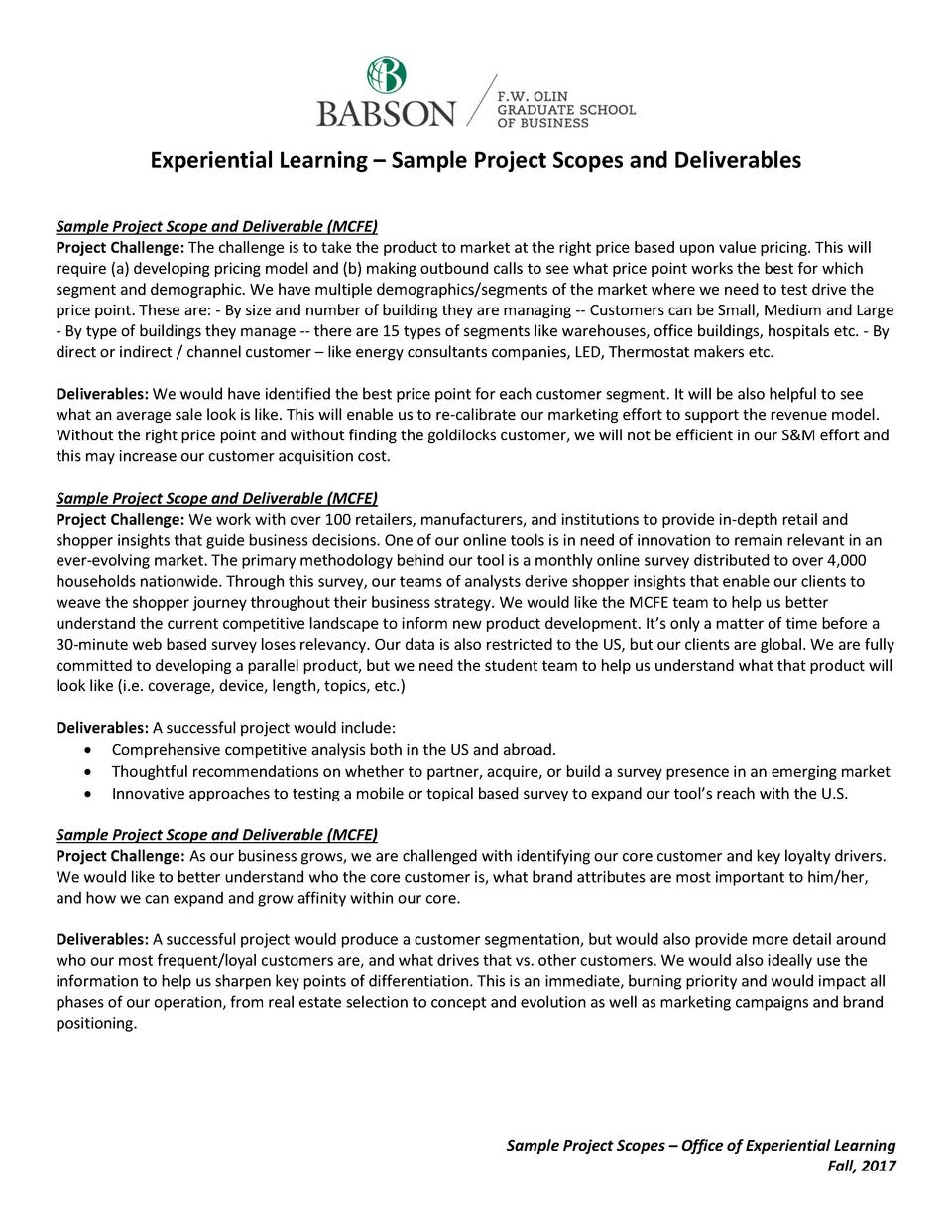 Experiential Learning     Sample Project Scopes and Deliverables Sample Project Scope and Deliverable  MCFE  Project Chall...