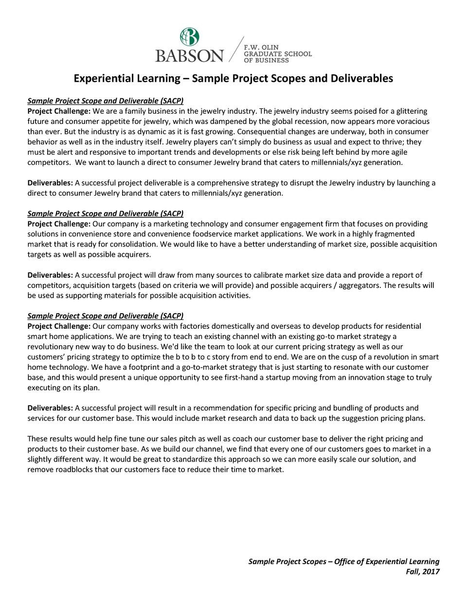 Experiential Learning     Sample Project Scopes and Deliverables Sample Project Scope and Deliverable  SACP  Project Chall...