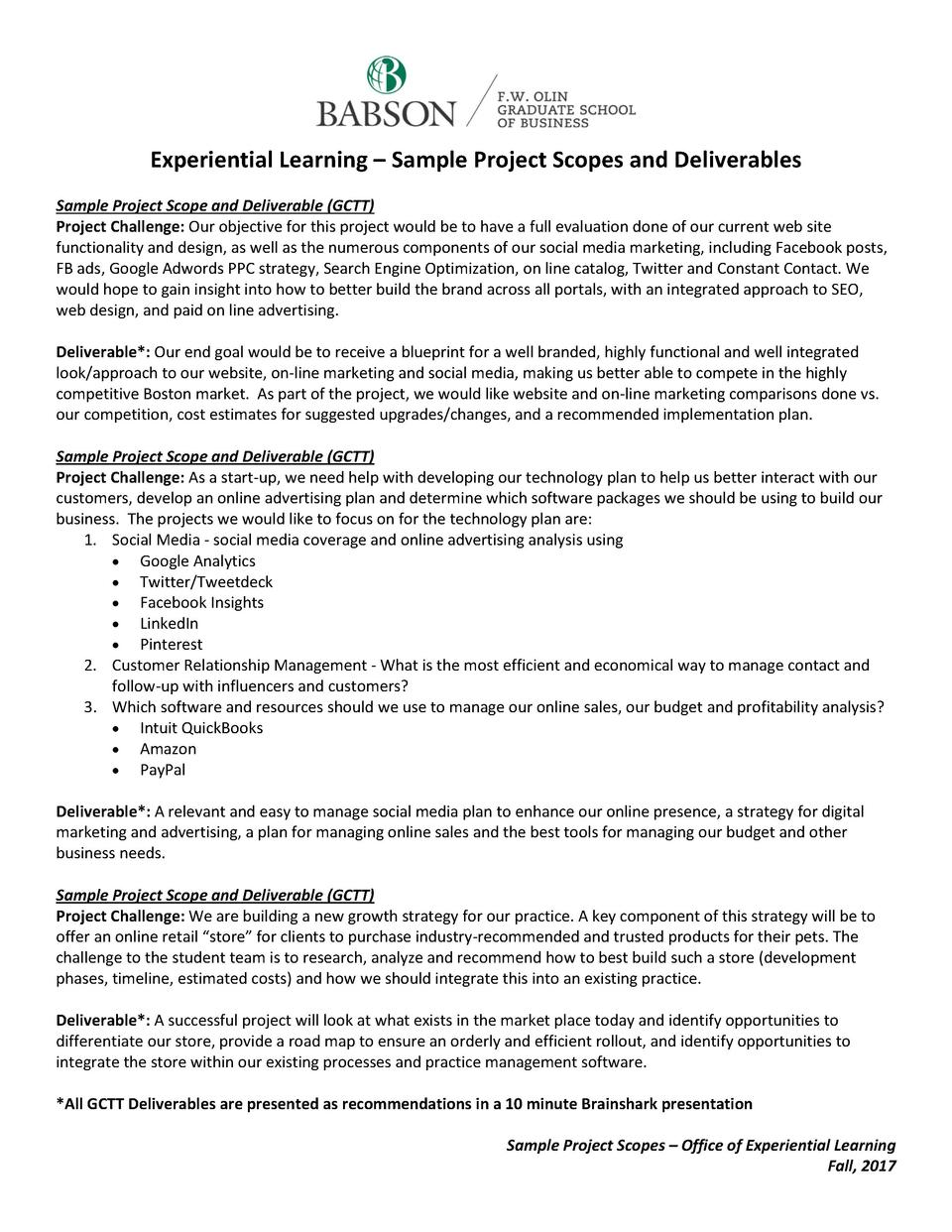Experiential Learning     Sample Project Scopes and Deliverables Sample Project Scope and Deliverable  GCTT  Project Chall...