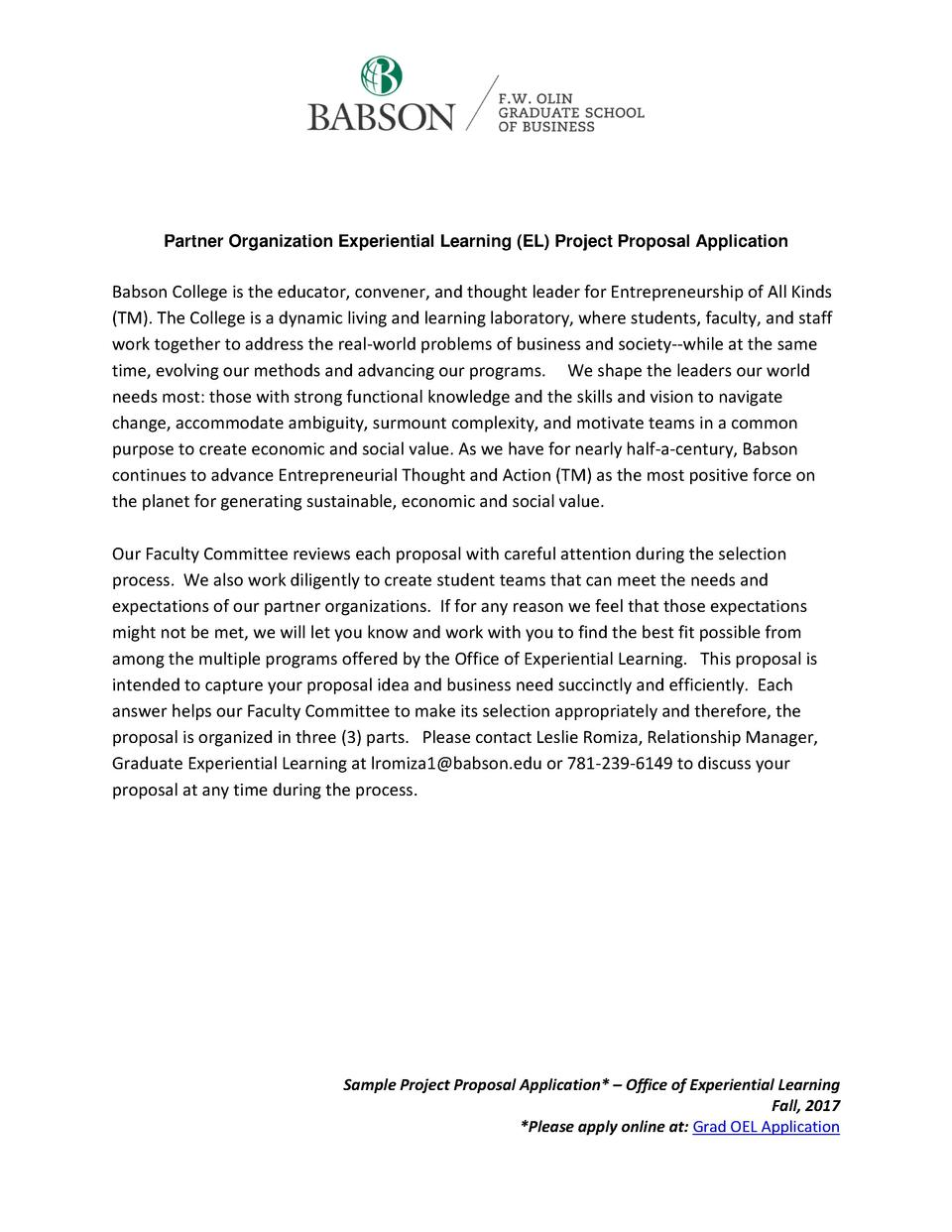 Partner Organization Experiential Learning  EL  Project Proposal Application  Babson College is the educator, convener, an...